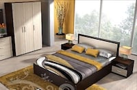 NEW Bedroom set - Bed frame, wardrobe, chest of drawers, mirror and 2 bedside tables  LONDON