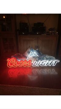Red white blue coors light neon light signage
