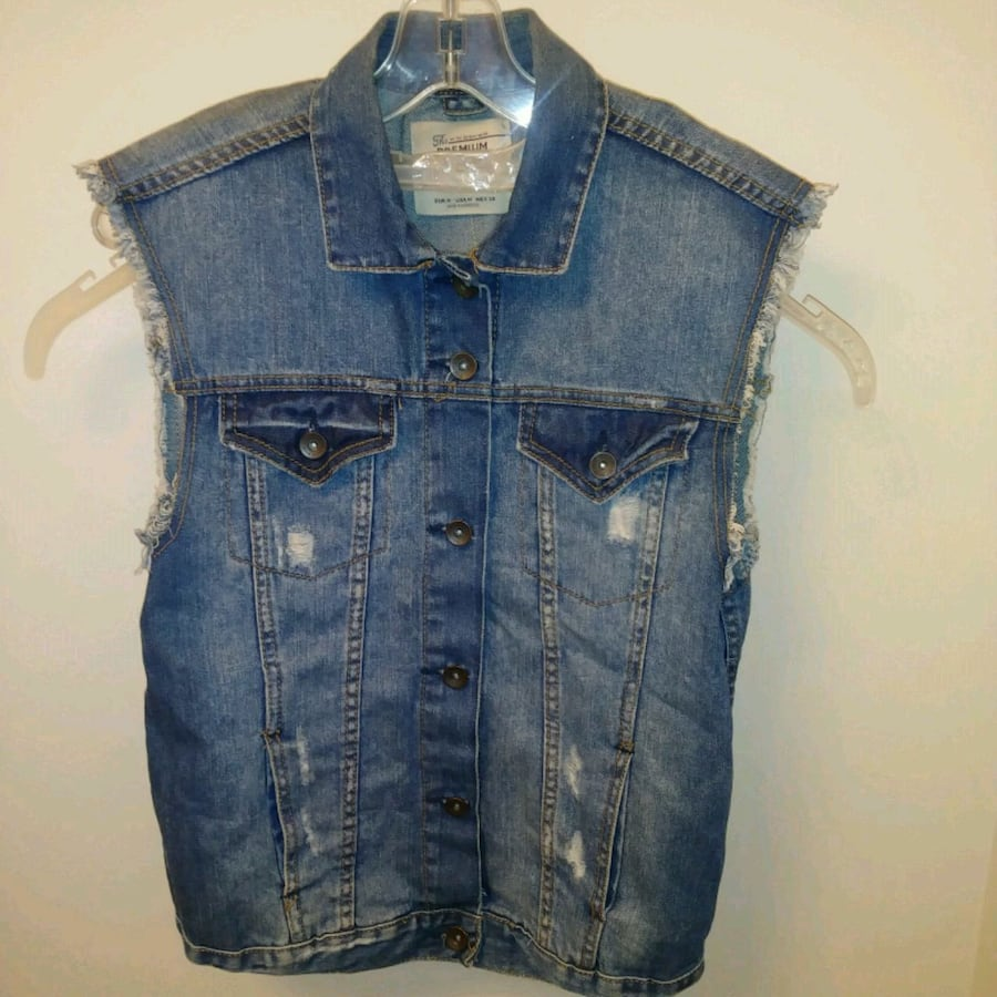 WOMENS Preworn: Zara Trafaluc denim jean vest distressed