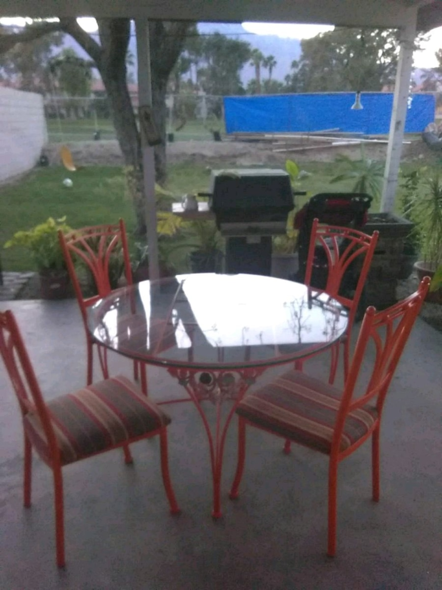 Used Rectangular Glass Top Table With Four Chairs Dining Set For Sale In  Palm Springs   Letgo