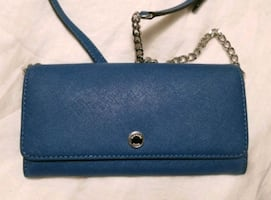 Michael Kors Blue Saffiano Leather Chain Wallet Purse