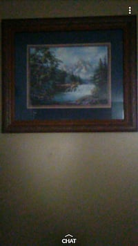 brown wooden framed painting of river Albuquerque, 87123