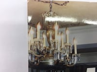 Art Deco chandelier with crystals. Made in France Laval, H7G