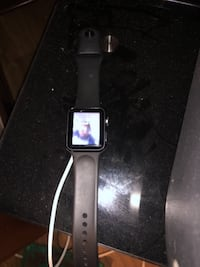 silver aluminum case Apple Watch with black sport band MILWAUKEE