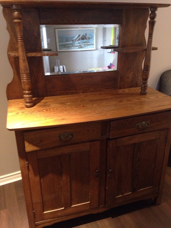 Used Antique Oak Wood Hutch Wash Stand With Mirror For Sale In