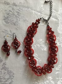 Red beaded choker with matching earrings Edmonton, T5A