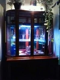 glass china cabinet & bookcase.