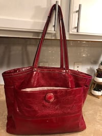Red Leather Coach tote bag