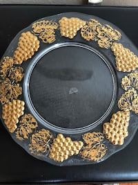 """Hand painted with Gold glass plate 13"""" diameter El Cajon, 92019"""