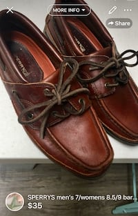 SPERRYS men's 7/womens 8.5/9 barely used gorgeous leather London, N5W 6E2