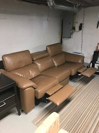 Tan Leather Couch with Recliner End Seats Falls Church, 22043