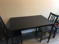 rectangular black wooden table with four chairs dining set Sudbury, P3E 0H4
