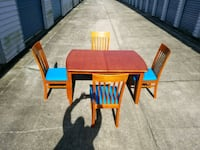 rectangular brown wooden table with four chairs di Rex, 30273