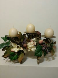 three white candles with brown metal candle holder Crown Point, 46307