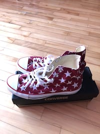 pair of red and white Converse All Star high tops Montréal, H8N 2G1