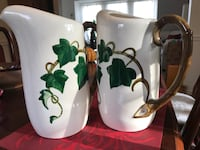 Poppytrail Ivy Pattern Pitchers by Metlox made in CA 1950s antique Nottingham, 21236
