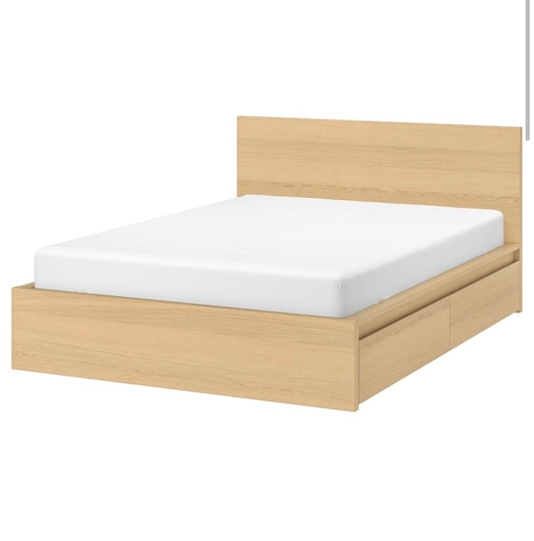Photo IKEA QUEEN SIZE BED w/ STOARGE BOXES
