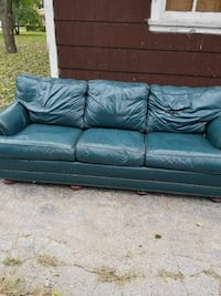 blue leather 3-seat couch Chicago, 60620