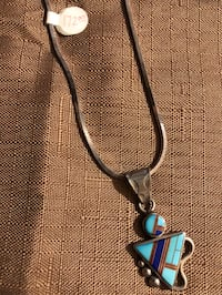 """Rb Sterling authentic Native American 18"""" necklace with turquoise charm. Fayetteville, 28314"""