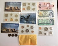 Lot of 1960-80s Canadian PL Coin Sets + Banknotes+Large Penny Calgary, T2R 1K6