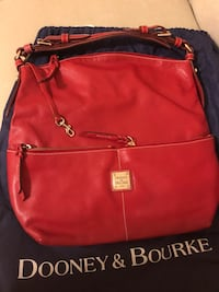 Dooney & Bourke Red Leather Hobo Handbag Bowie, 20716