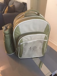 grey and green Forest embroidered suede backpack