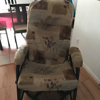 White and gray floral padded glider chair 804 km
