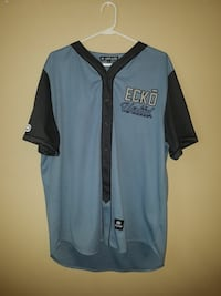blue and grey Ecko United button-up jersey shirt
