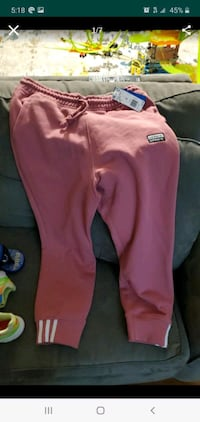 Adidas dusty rose thick jogger baggy style