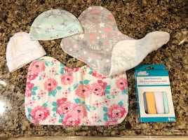 Burp cloths, wash cloths, and hats