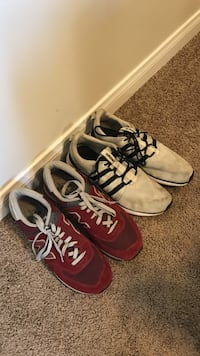 two pairs of white and red running shoes
