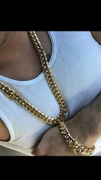 Cuban Chain and Bracelet 18KT Gold Plated over Stainless Steel