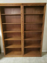 pair of 7' tall five shelf bookcases  Woodstock