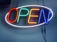 open sign with remote led neon light outside