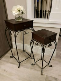 2 Wooden and Wrought Iron Nesting Tables