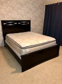 Signature Design by Ashley Furniture Queen Panel Bed with Queen Size Sealy Plush Euro Pillowtop Mattress & Boxspring Sugar Grove, 60554