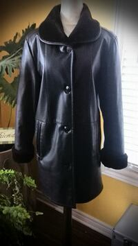 DARK CHOCOLATE BROWN FAUX LEATHER WINTER COAT - SIZE S/M WELLAND