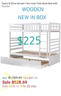 BUNK BED W/ TRUNDLE BED,  WOODEN,