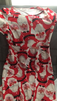 Women's red and white Santa Claus printed dress