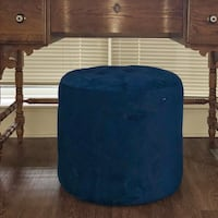 """Blue Tufted Ottoman -$40 OBO18""""h x 20"""" diam Damage from dog - see pics MUST GO BY TOMORROW 9/10 Vienna, 22031"""
