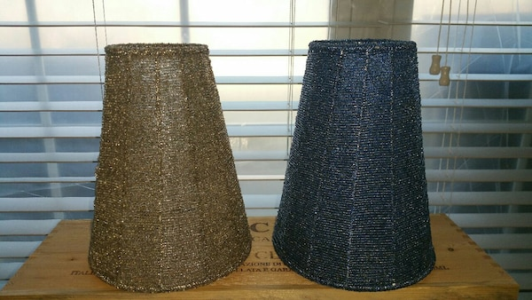 2 Glass Beaded Lampshades