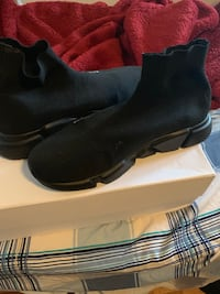 Pair of triple-black balenciaga speed trainer sock sneakers with box 535 km