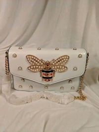 White leather mini top handle with pearl butterfly Halethorpe, 21227