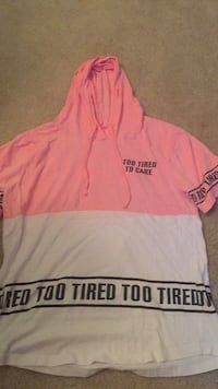 "Short sleave hoodie ""Too Tired to care"" Size L Women North Bethesda, 20852"