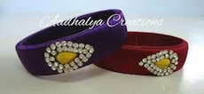 women's two purple and red studded silk bangles