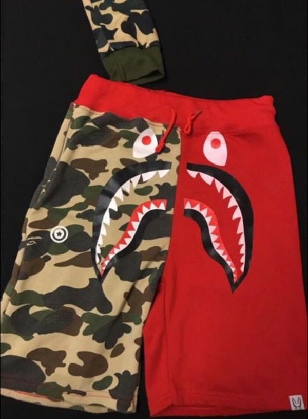 Bape blue and red camouflage shorts
