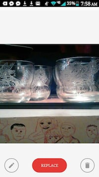 Etched Fairy Cinch Glasses set of 4.