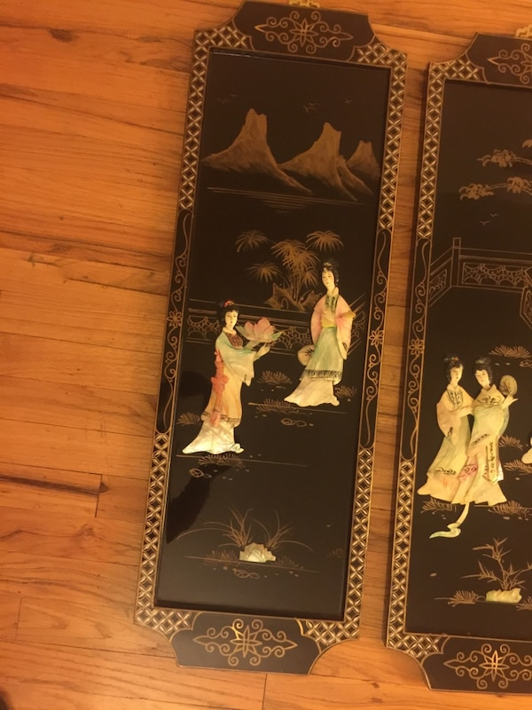 Used Japanese Black And Brown Wooden Wall Decor For Sale In Spring
