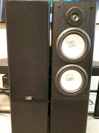 two white and black MTS subwoofers with enclosure Woodstock, N4S 7J5