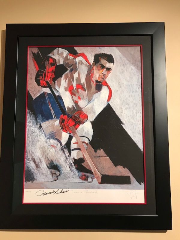 Maurice Richard autographed painting fully matted frame